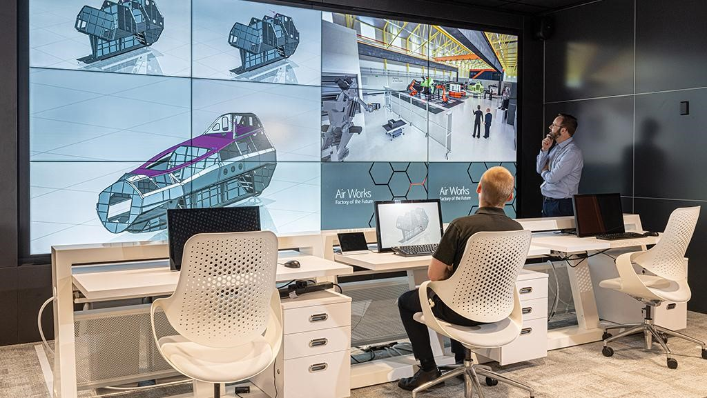 BAE proposes a factory of the future that is fully digitized end to end with control rooms monitoring each step of the process. Credit: BAE Systems